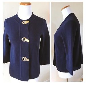 J. McLaughlin navy gold toggle sweater cardigan